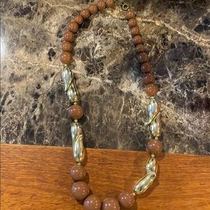 Beaded and gold necklace